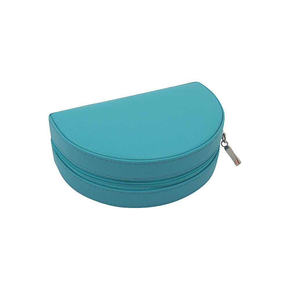Budd Leather Zippered Half Moon Jewelry Box Teal Budd Leather Travel Organizers