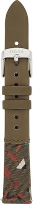 Fossil Canteen 16mm Leather and Canvas Watch Strap Green ...
