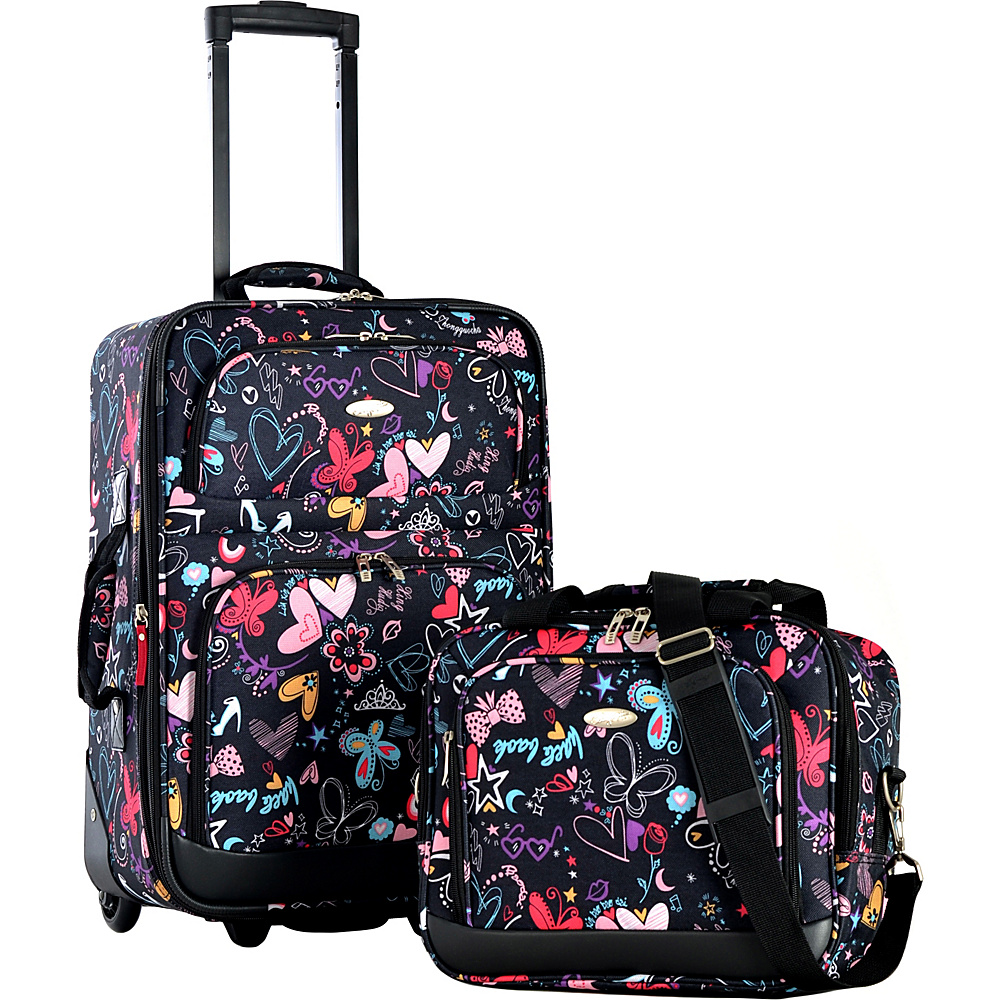 Olympia USA Lets Travel 2 Piece Carry On Luggage Set Butterly Print - Olympia USA Luggage Sets