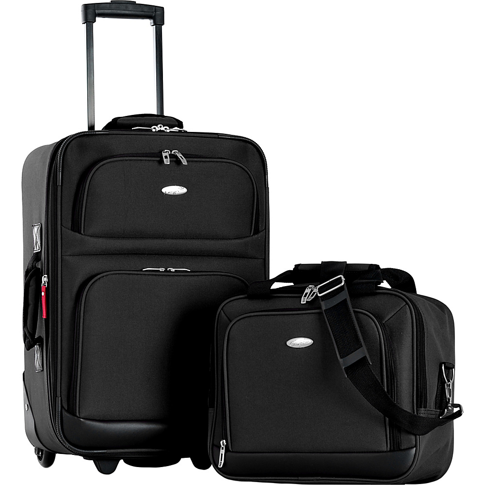 Olympia USA Lets Travel 2 Piece Carry On Luggage Set Black - Olympia USA Luggage Sets