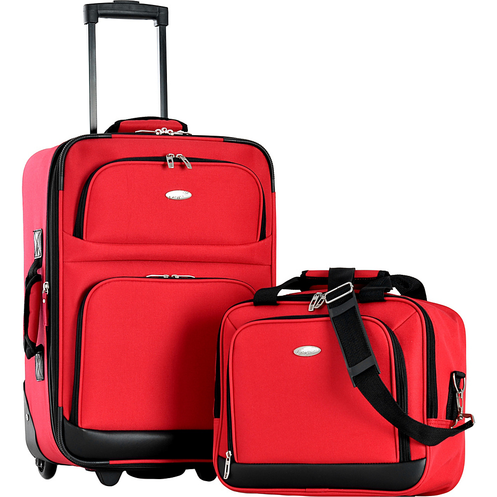 Olympia USA Lets Travel 2 Piece Carry On Luggage Set Reds - Olympia USA Luggage Sets