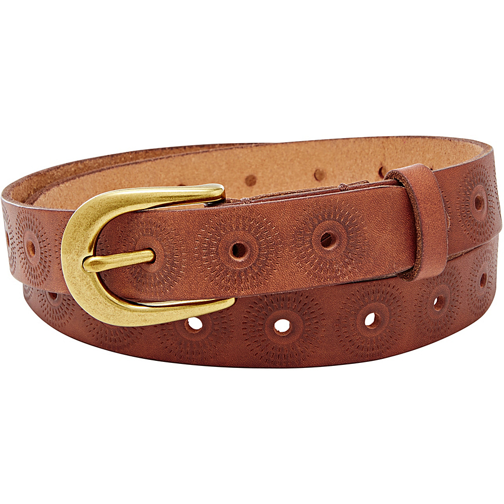 Fossil Floral Perforated Belt M - Brown - Fossil Other Fashion Accessories - Fashion Accessories, Other Fashion Accessories
