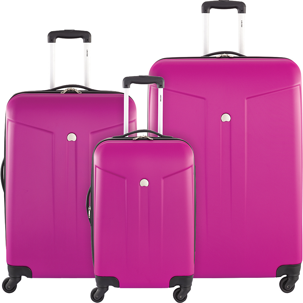 Delsey Comte 3 Piece Expandable Hardside Luggage Set Fuchsia Delsey Luggage Sets