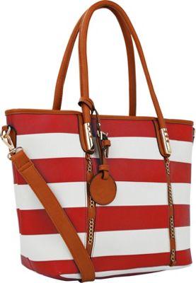 MKF Collection by Mia K. Farrow Marina Striped Tote Handbag Red - MKF Collection by Mia K. Farrow Manmade Handbags