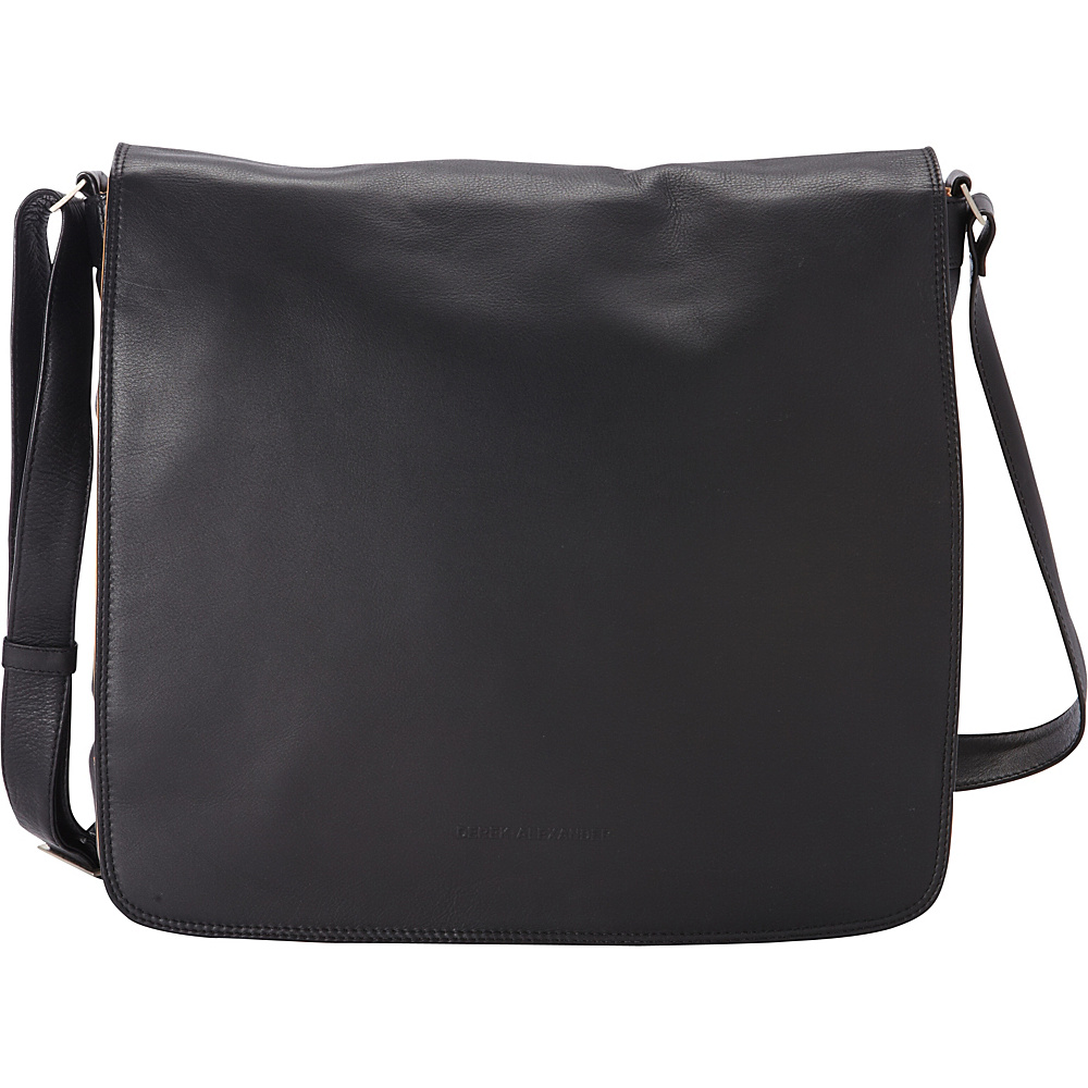 Derek Alexander Classic Large Full Flap Crossbody Black/Buff - Derek Alexander Leather Handbags - Handbags, Leather Handbags