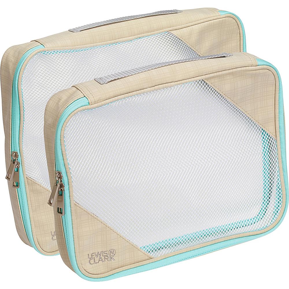 Lewis N. Clark 2 Pack Packing Cube Set Beige Mint Lewis N. Clark Travel Organizers