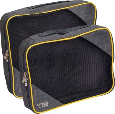 Lewis N. Clark 2-Pack Packing Cube Set Charcoal/Yellow - Lewis N. Clark Travel Organizers
