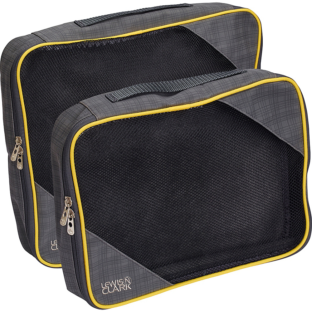 Lewis N. Clark 2 Pack Packing Cube Set Charcoal Yellow Lewis N. Clark Travel Organizers