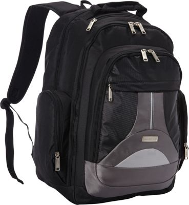 Geoffrey Beene Luggage Tech Backpack Black and Gray - Geoffrey Beene Luggage Business & Laptop Backpacks