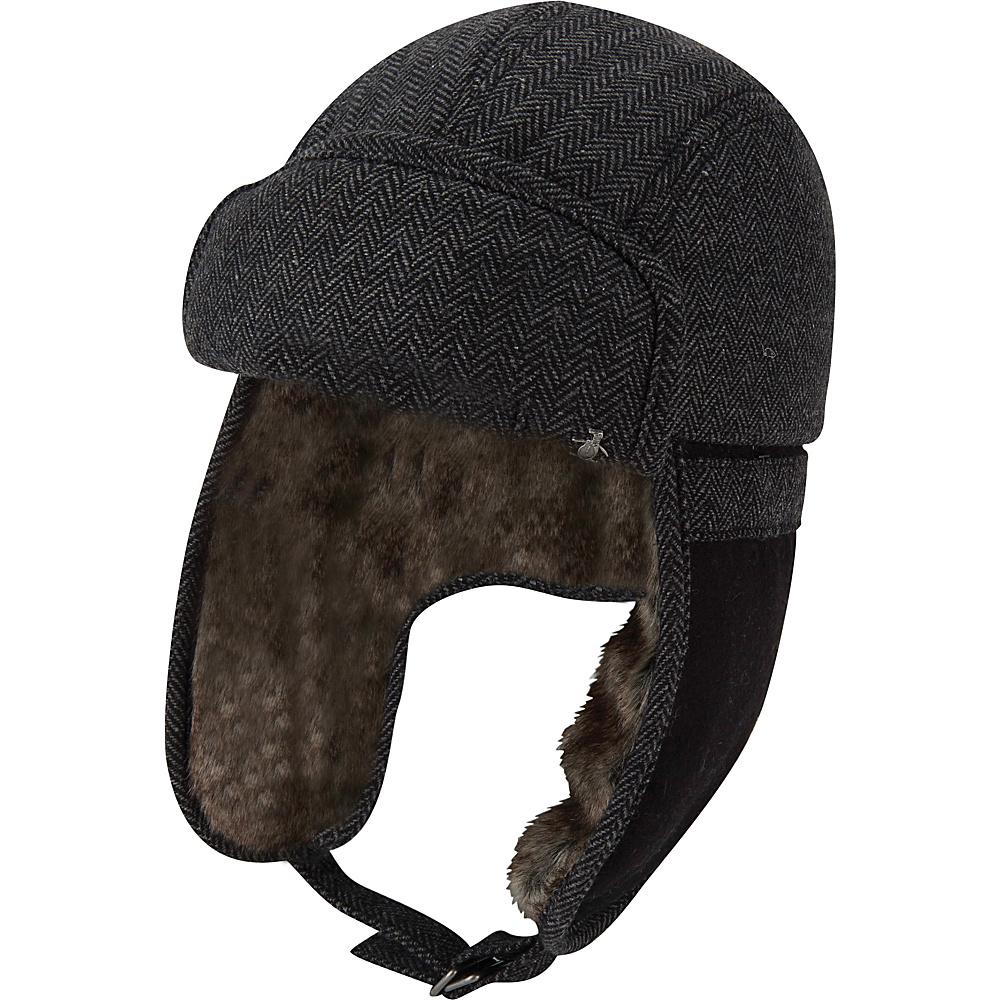 Original Penguin Woolen Herringbone Trapper Hat L/XL - Charcoal - Original Penguin Hats/Gloves/Scarves