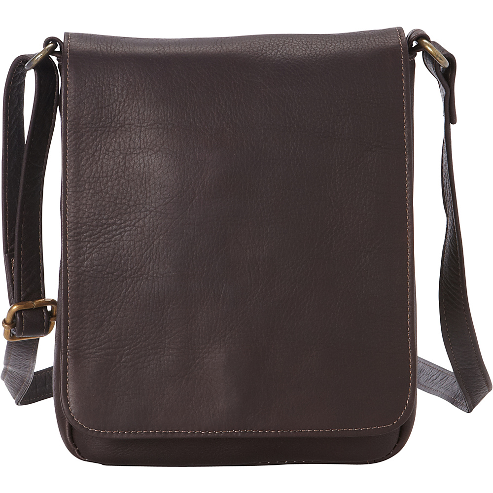 Le Donne Leather Capella Flapover Crossbody Cafe - Le Donne Leather Leather Handbags - Handbags, Leather Handbags