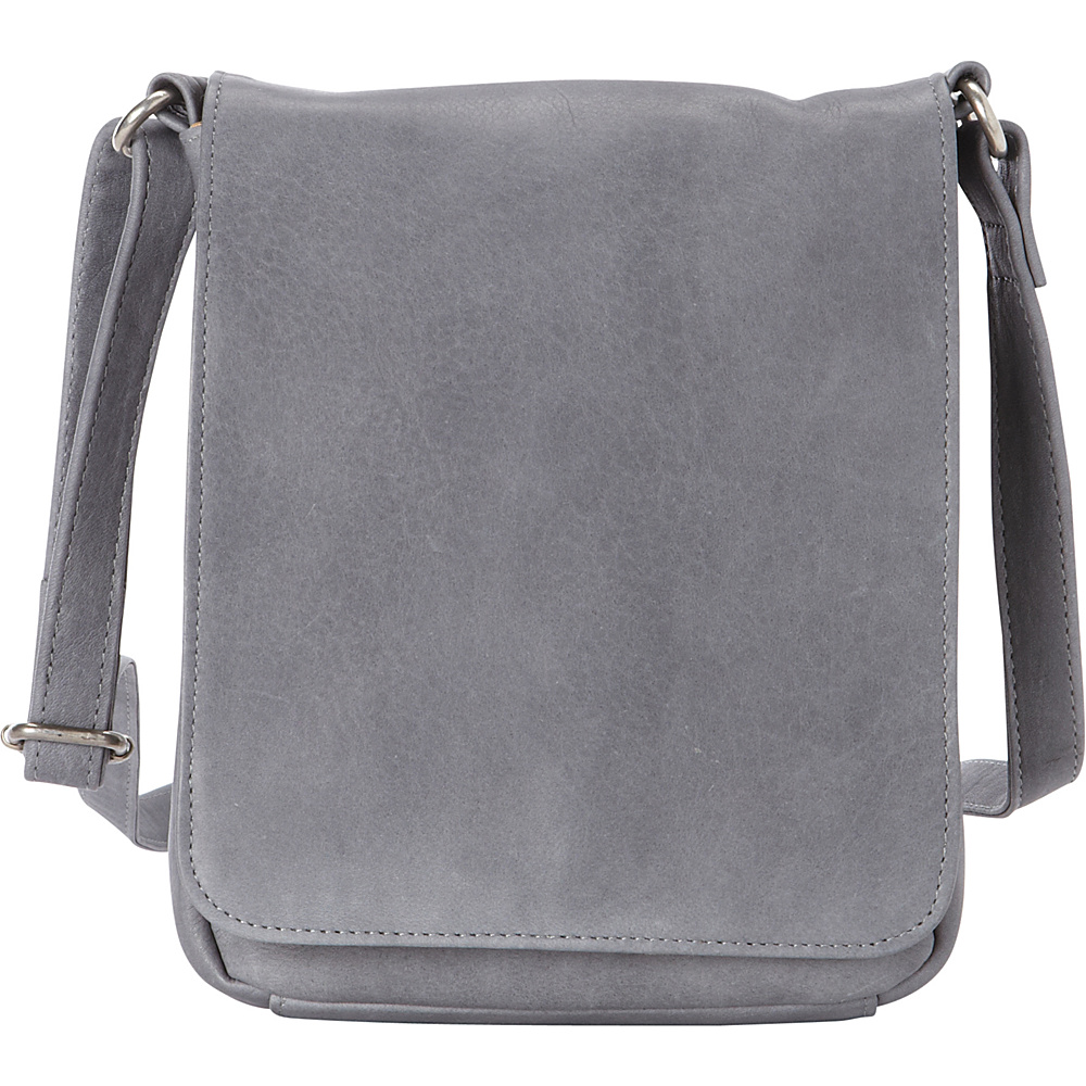 Le Donne Leather Capella Flapover Crossbody Gray - Le Donne Leather Leather Handbags - Handbags, Leather Handbags