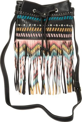 Montana West Fringe Drawstring Bucket Bag Black - Montana West Manmade Handbags
