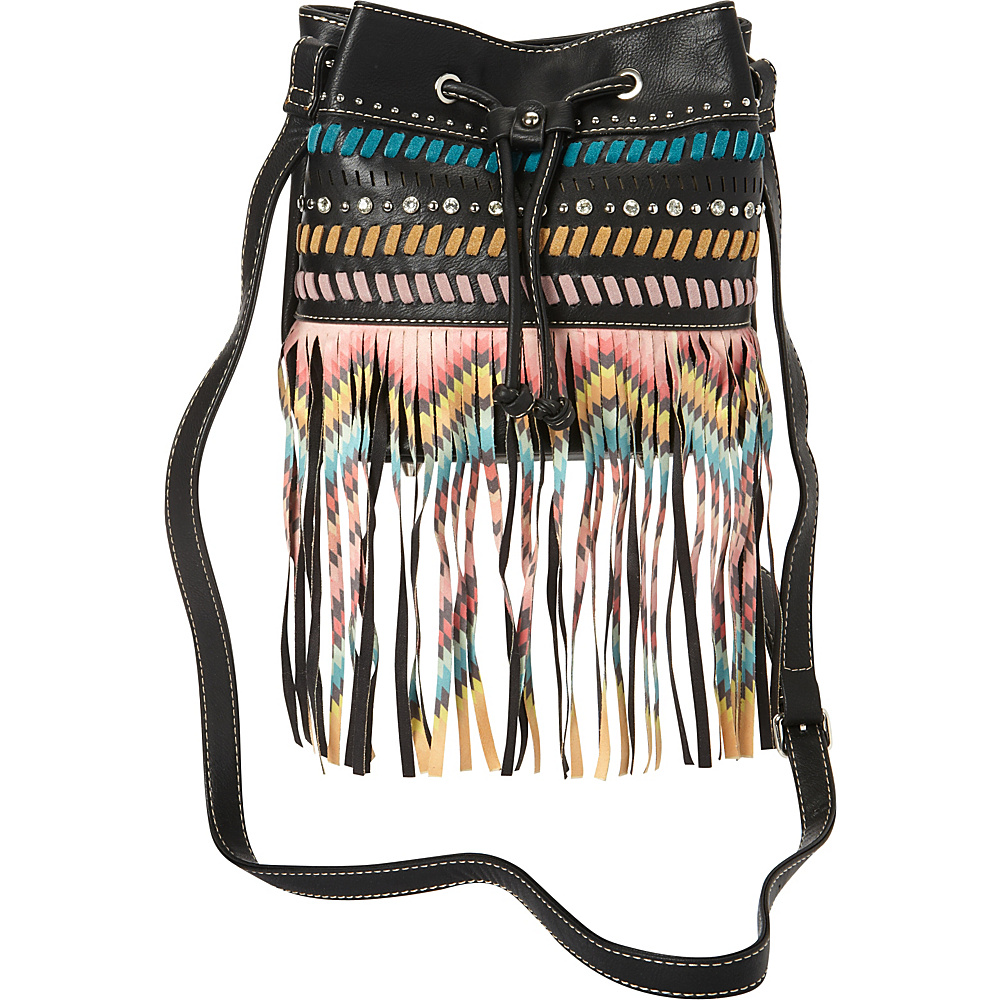 Montana West Fringe Drawstring Bucket Bag Black Montana West Manmade Handbags