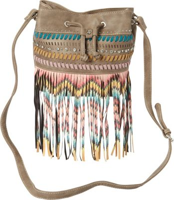 Montana West Fringe Drawstring Bucket Bag Khaki - Montana West Manmade Handbags