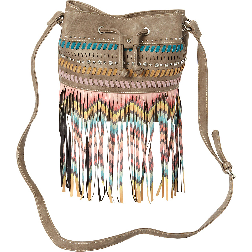 Montana West Fringe Drawstring Bucket Bag Khaki Montana West Manmade Handbags