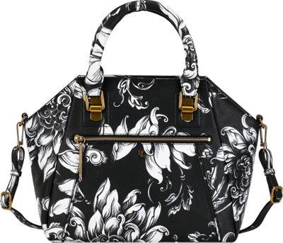 Elliott Lucca Faro City Satchel Printed Black & White Wildflower - Elliott Lucca Designer Handbags