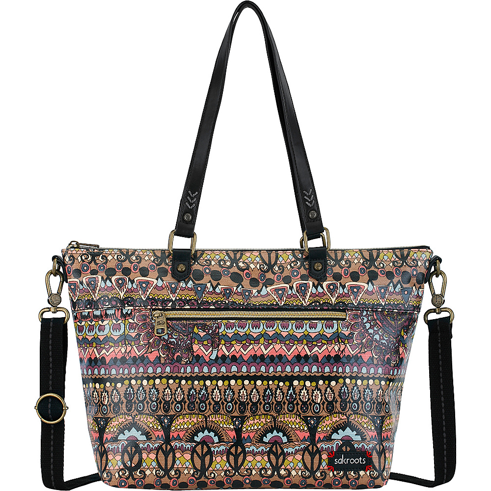 Sakroots Artist Circle City Satchel Taupe One World - Sakroots Fabric Handbags - Handbags, Fabric Handbags