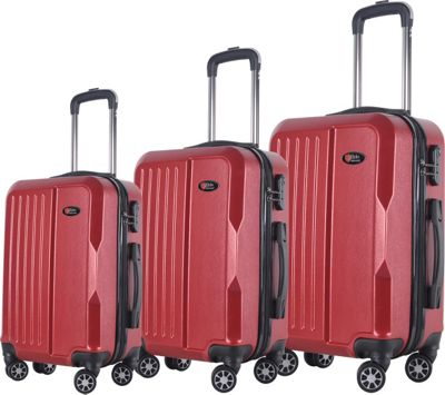 Brio Luggage Hardside Spinner Luggage 3-Piece Set #1701 Dark Red - Brio Luggage Luggage Sets