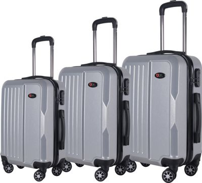 Brio Luggage Brio Luggage Hardside Spinner Luggage 3-Piece Set #1701 Silver - Brio Luggage Luggage Sets