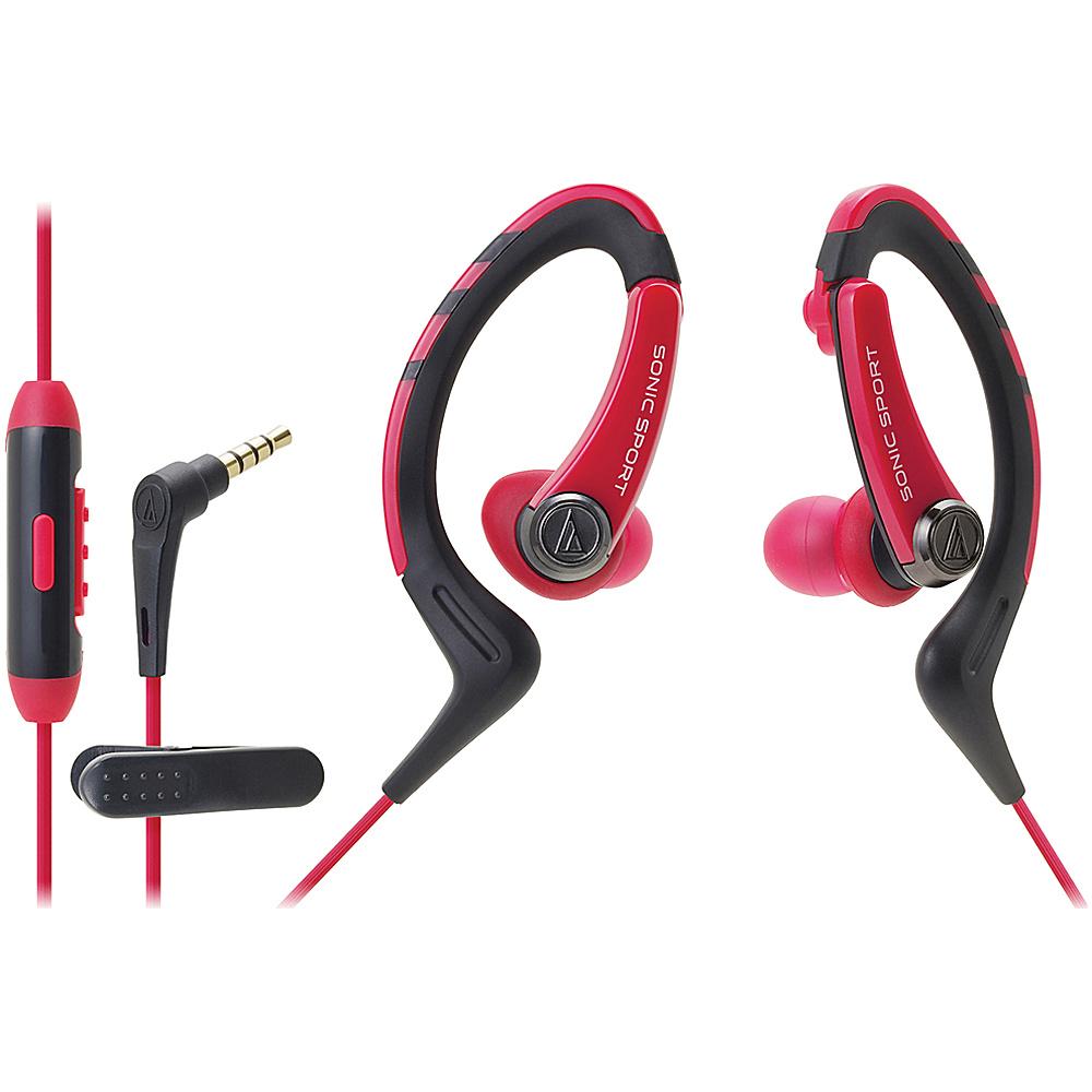 Audio Technica ATH SPORT1ISPK SonicSport In ear Headphones Red Audio Technica Headphones Speakers