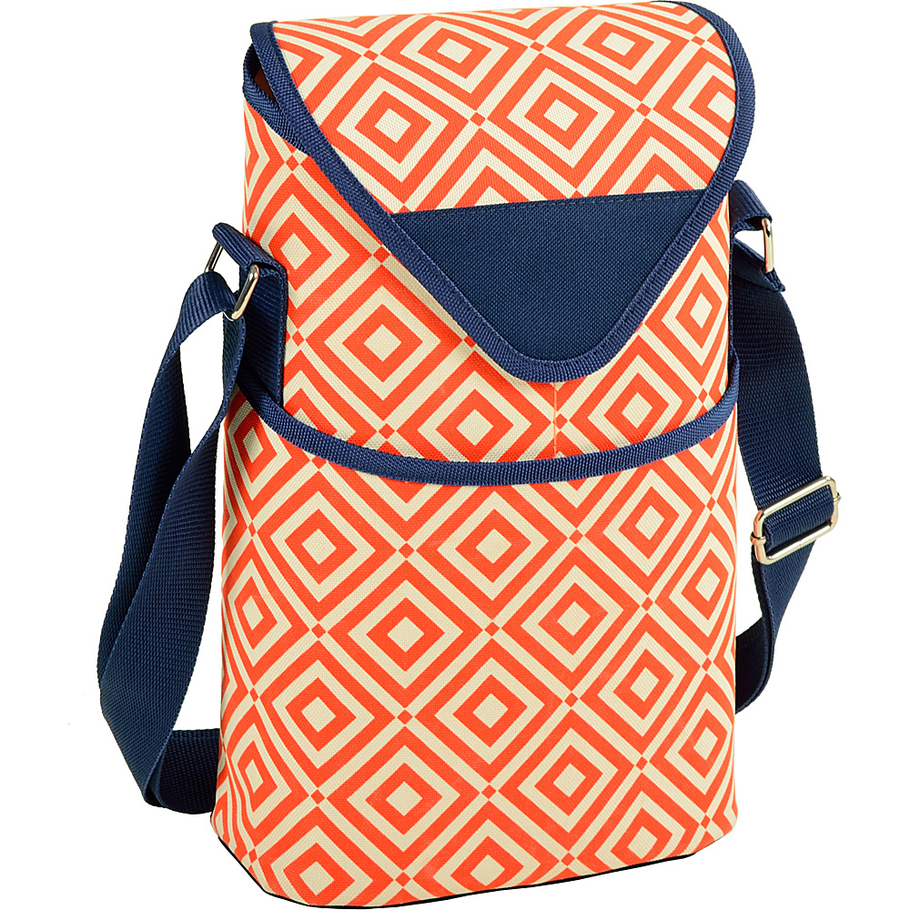 Picnic at Ascot Insulated Wine/Water Bottle Tote with Shoulder Strap Orange/Navy - Picnic at Ascot Outdoor Accessories