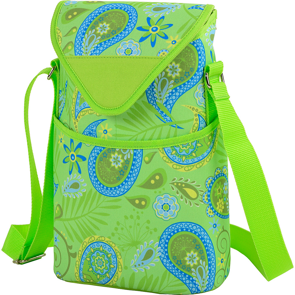 Picnic at Ascot Insulated Wine/Water Bottle Tote with Shoulder Strap Paisley Green - Picnic at Ascot Outdoor Accessories - Outdoor, Outdoor Accessories