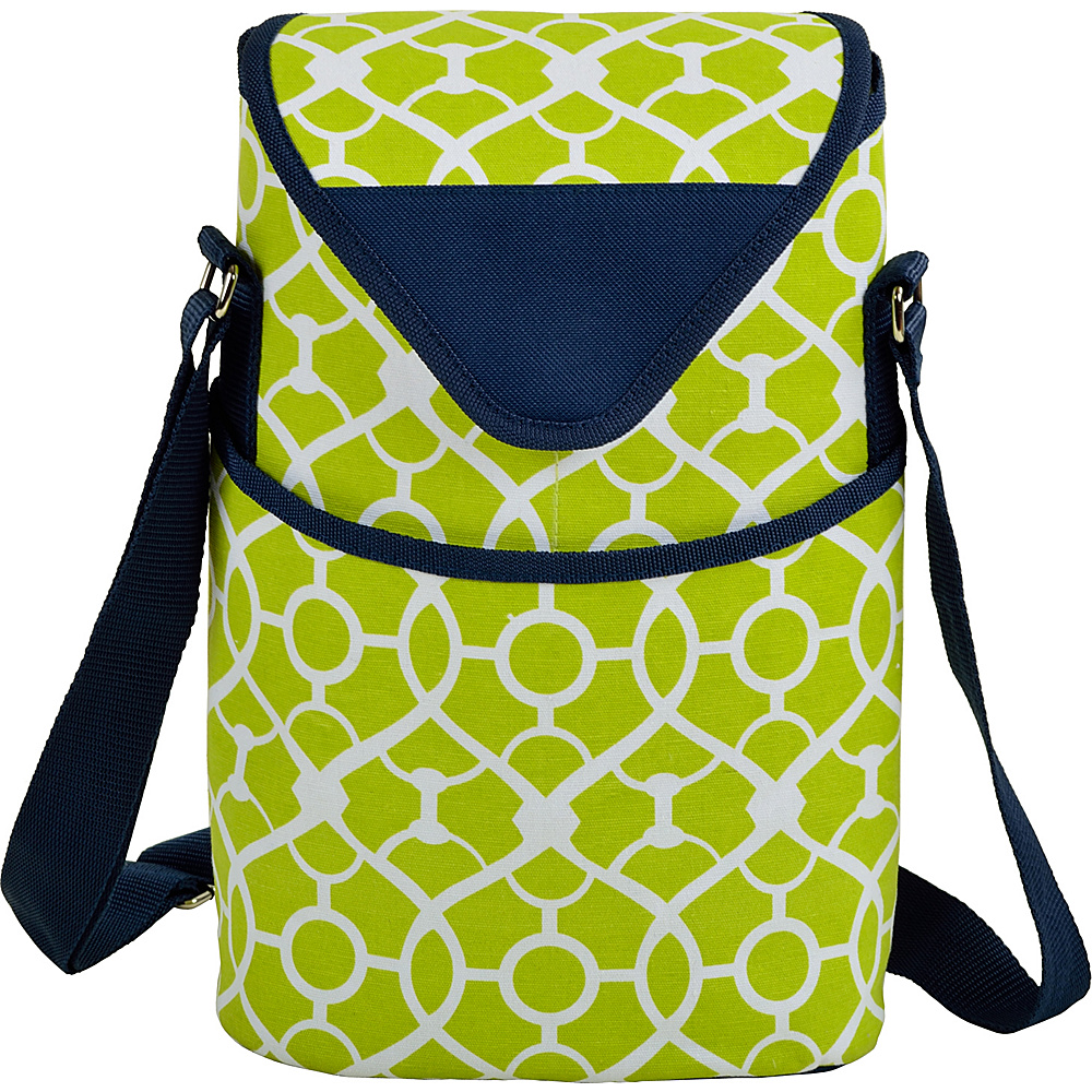 Picnic at Ascot Insulated Wine/Water Bottle Tote with Shoulder Strap Trellis Green - Picnic at Ascot Outdoor Accessories