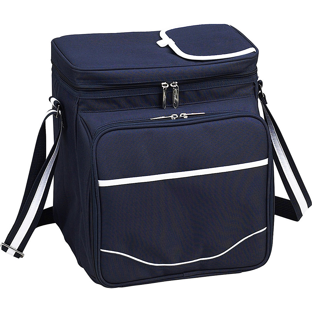 Picnic at Ascot Insulated Picnic Basket/Cooler Fully Equipped with Service for 2 Navy/White - Picnic at Ascot Outdoor Coolers - Outdoor, Outdoor Coolers