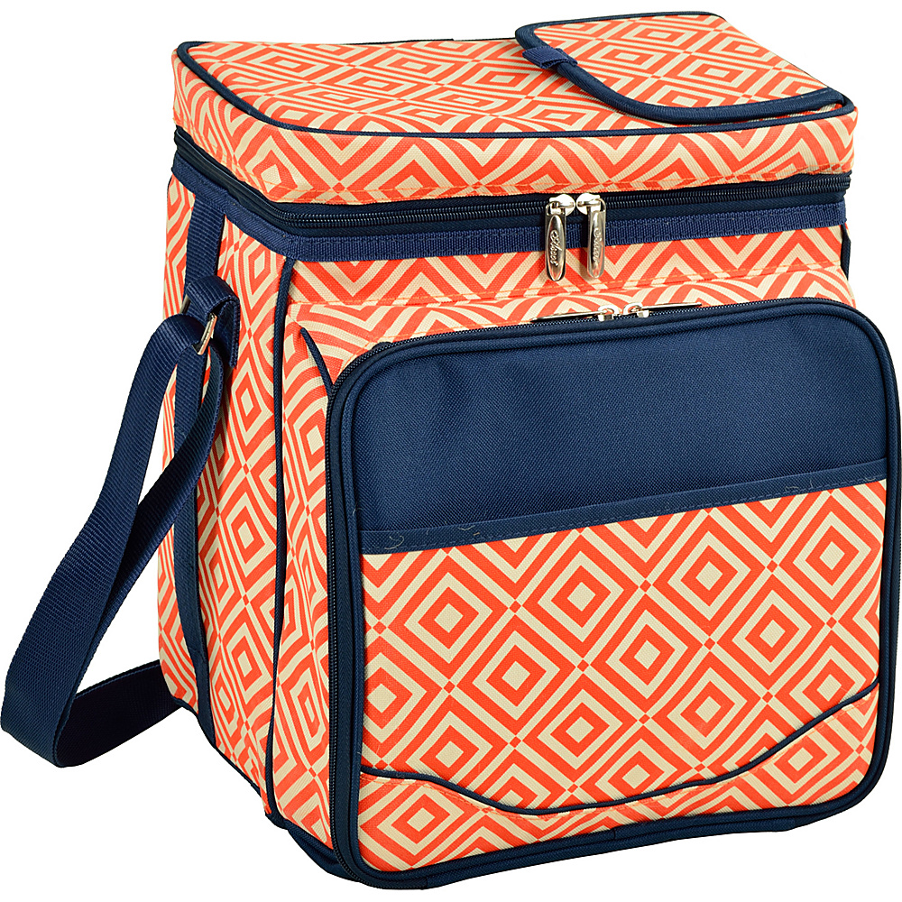 Picnic at Ascot Insulated Picnic Basket/Cooler Fully Equipped with Service for 2 Orange/Navy - Picnic at Ascot Outdoor Coolers - Outdoor, Outdoor Coolers