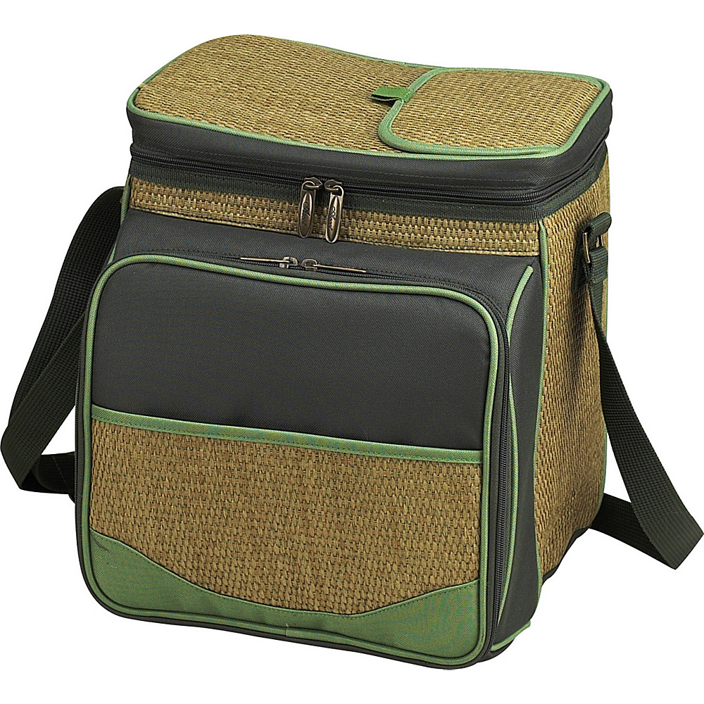 Picnic at Ascot Insulated Picnic Basket/Cooler Fully Equipped with Service for 2 Natural Weave/Forest Green - Picnic at Ascot Outdoor Coolers - Outdoor, Outdoor Coolers