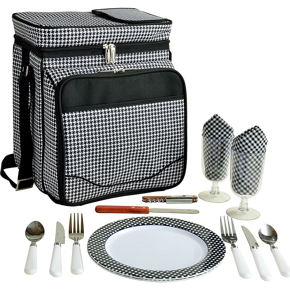 Picnic at Ascot Insulated Picnic Basket/Cooler Fully Equipped with Service for 2 Houndstooth - Picnic at Ascot Outdoor Coolers - Outdoor, Outdoor Coolers
