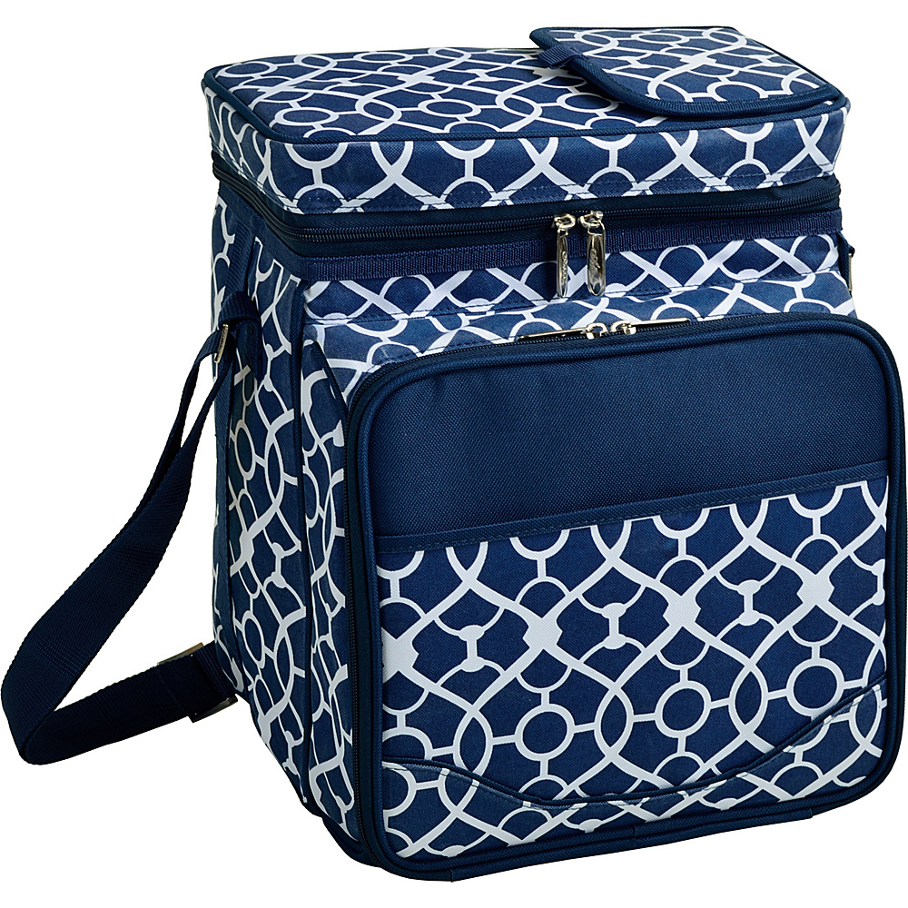Picnic at Ascot Insulated Picnic Basket/Cooler Fully Equipped with Service for 2 Trellis Blue - Picnic at Ascot Outdoor Coolers - Outdoor, Outdoor Coolers