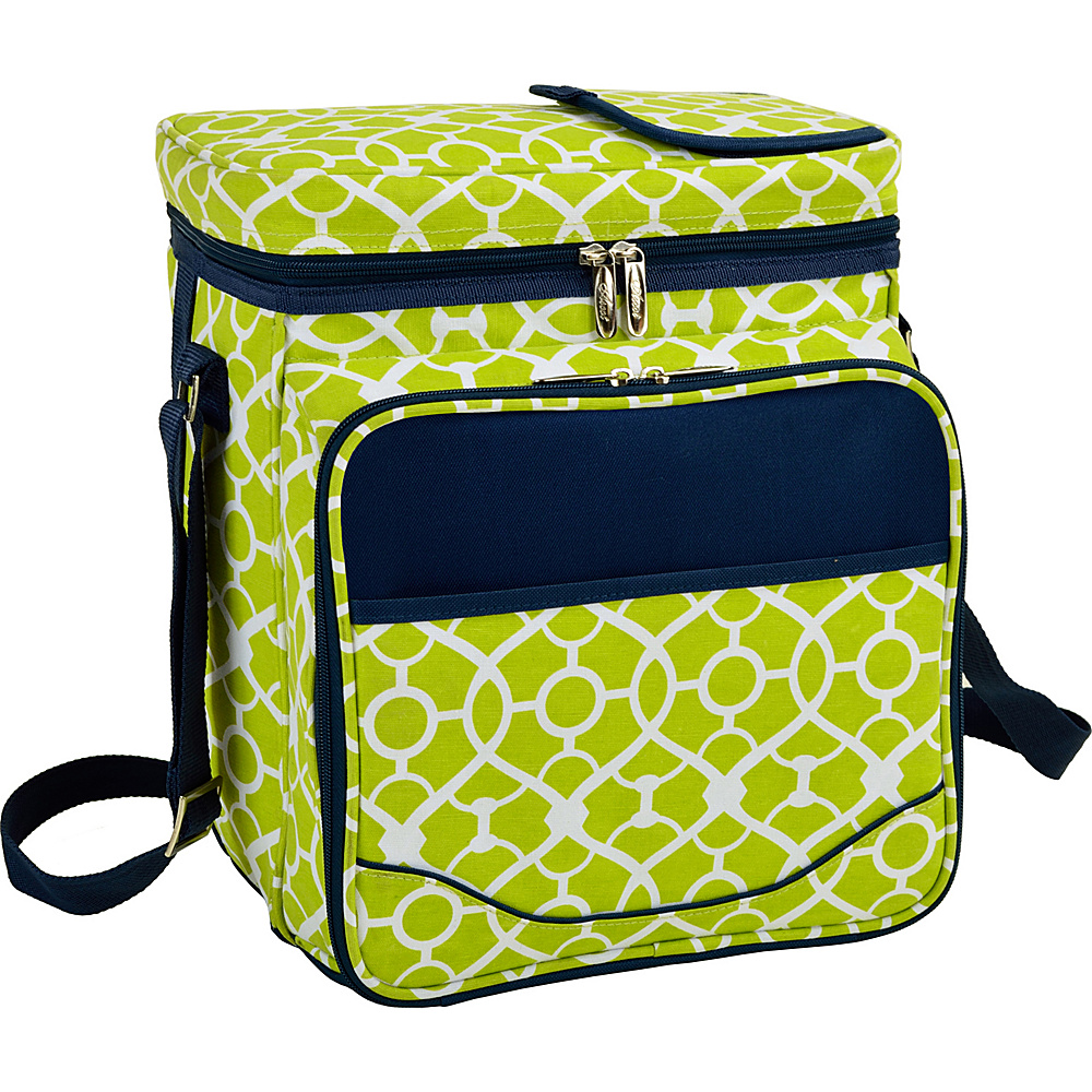 Picnic at Ascot Insulated Picnic Basket/Cooler Fully Equipped with Service for 2 Trellis Green - Picnic at Ascot Outdoor Coolers - Outdoor, Outdoor Coolers