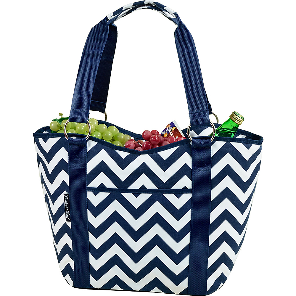 Picnic at Ascot Large Scoop Top Cooler Tote Blue Chevron - Picnic at Ascot Outdoor Coolers - Outdoor, Outdoor Coolers