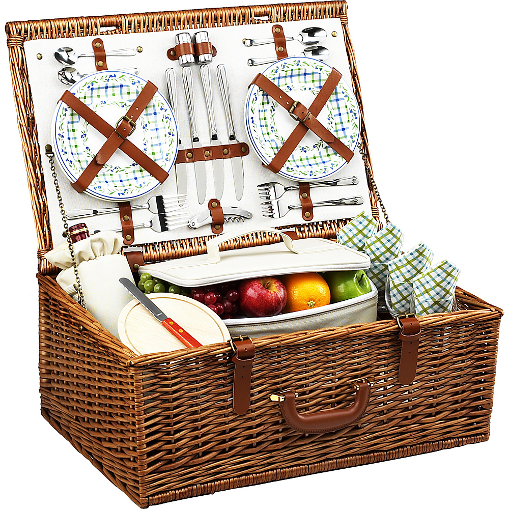 Picnic at Ascot Dorset English-Style Willow Picnic Basket with Service for 4 Wicker w/Gazebo - Picnic at Ascot Outdoor Accessories - Outdoor, Outdoor Accessories