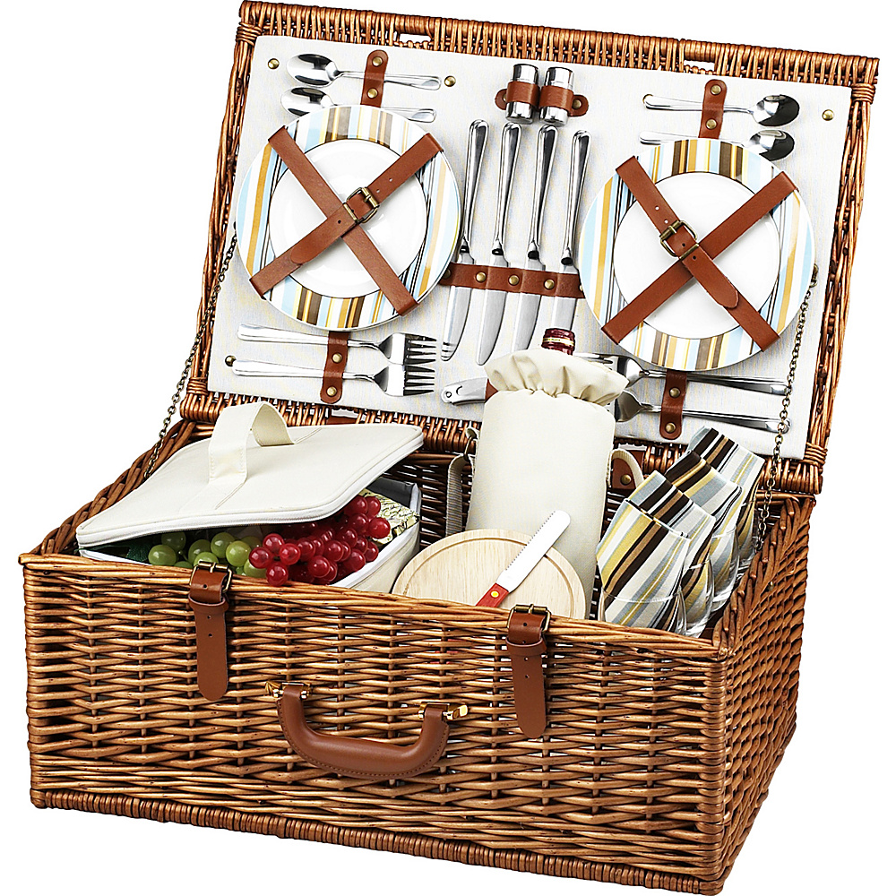 Picnic at Ascot Dorset English-Style Willow Picnic Basket with Service for 4 Wicker w/Santa Cruz - Picnic at Ascot Outdoor Accessories - Outdoor, Outdoor Accessories