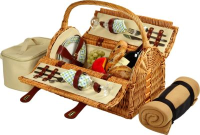 Picnic at Ascot Sussex Willow Picnic Basket with Service for 2 with Blanket Wicker w/Gazebo - Picnic at Ascot Outdoor Accessories