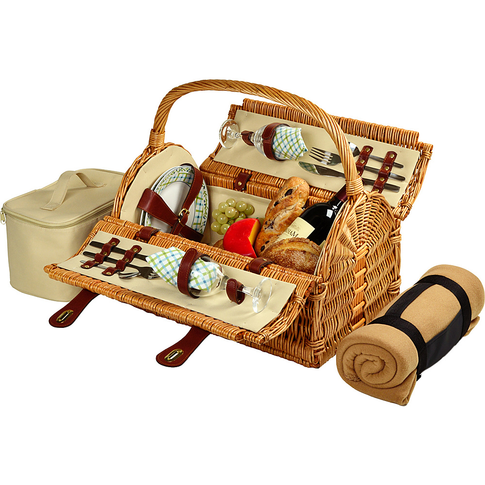 Picnic at Ascot Sussex Willow Picnic Basket with Service for 2 with Blanket Wicker w/Gazebo - Picnic at Ascot Outdoor Accessories - Outdoor, Outdoor Accessories