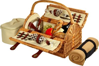 Picnic at Ascot Sussex Willow Picnic Basket with Service for 2 with Blanket Wicker w/London - Picnic at Ascot Outdoor Accessories