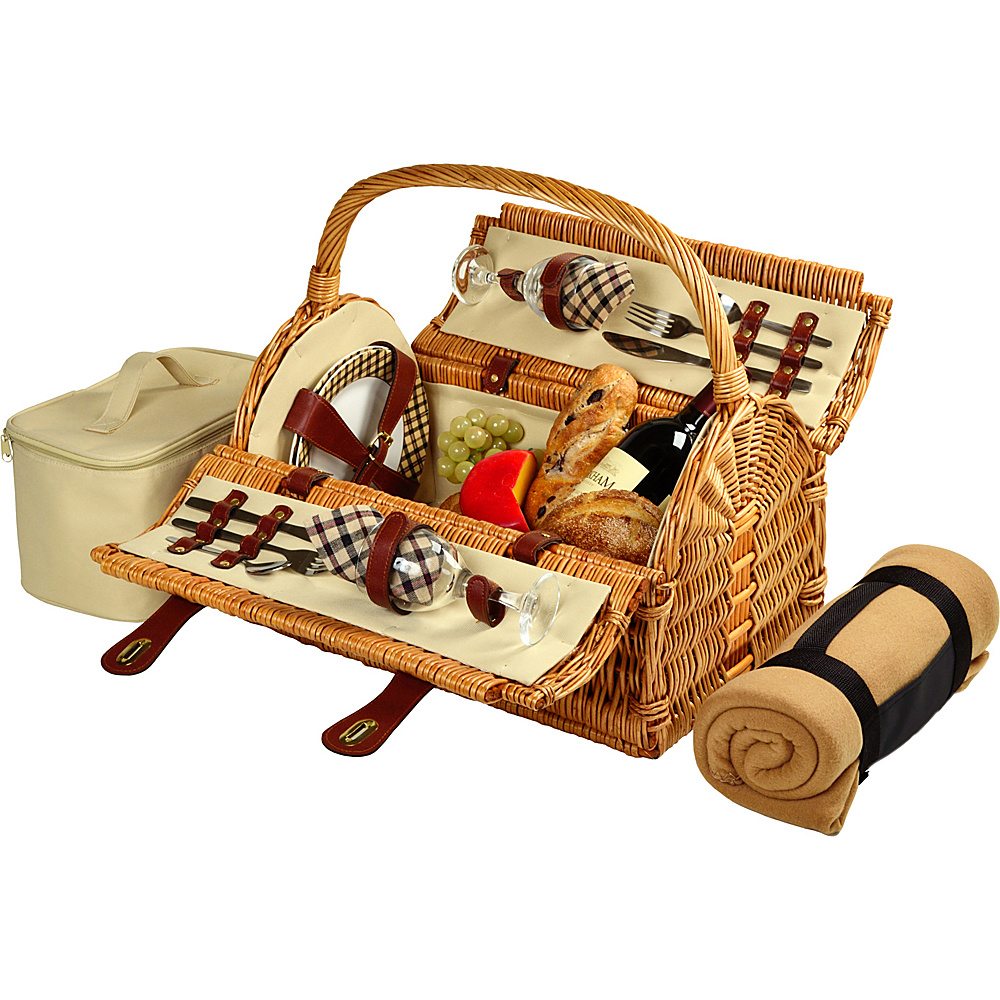 Picnic at Ascot Sussex Willow Picnic Basket with Service for 2 with Blanket Wicker w/London - Picnic at Ascot Outdoor Accessories - Outdoor, Outdoor Accessories