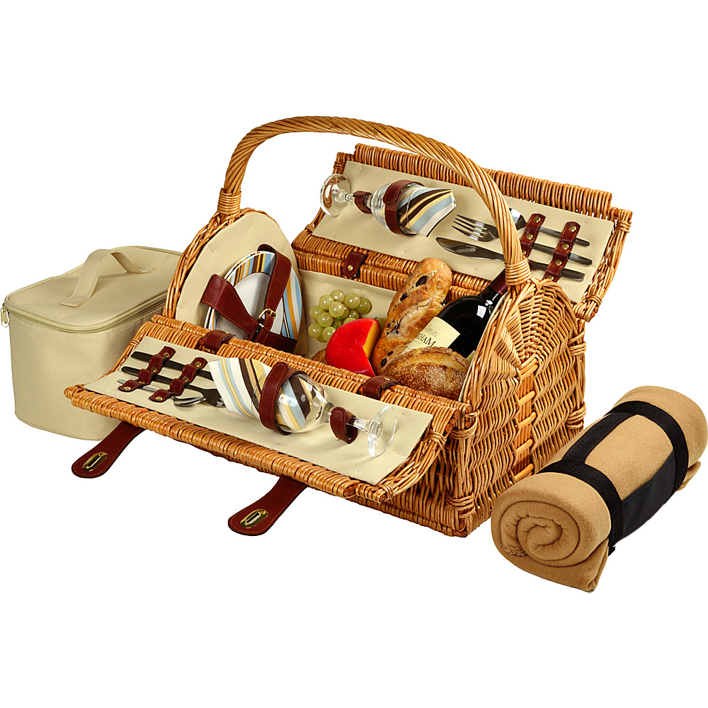 Picnic at Ascot Sussex Willow Picnic Basket with Service for 2 with Blanket Wicker w/Santa Cruz - Picnic at Ascot Outdoor Accessories - Outdoor, Outdoor Accessories