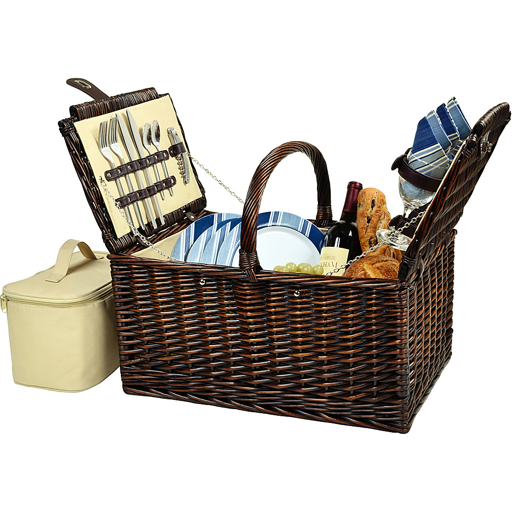Picnic at Ascot Buckingham Picnic Willow Picnic Basket with Service for 4 Brown Wicker/Blue Stripe - Picnic at Ascot Outdoor Accessories - Outdoor, Outdoor Accessories