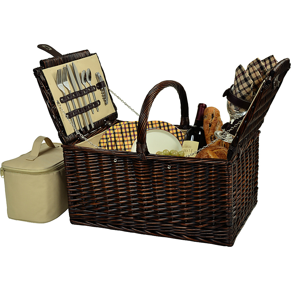 Picnic at Ascot Buckingham Picnic Willow Picnic Basket with Service for 4 Brown Wicker/London Plaid - Picnic at Ascot Outdoor Accessories - Outdoor, Outdoor Accessories