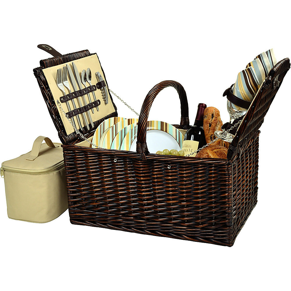 Picnic at Ascot Buckingham Picnic Willow Picnic Basket with Service for 4 Brown Wicker/Santa Cruz - Picnic at Ascot Outdoor Accessories - Outdoor, Outdoor Accessories