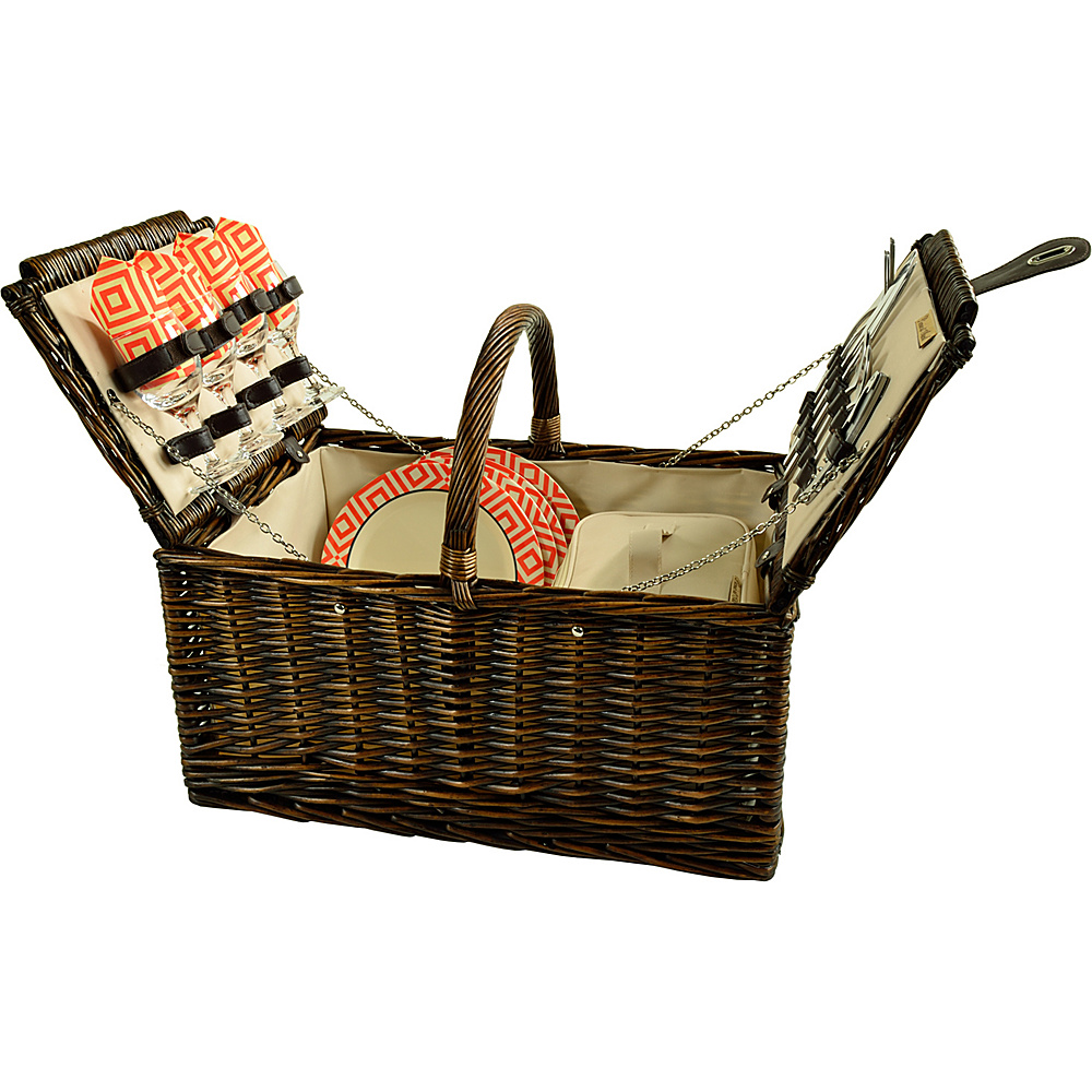 Picnic at Ascot Buckingham Picnic Willow Picnic Basket with Service for 4 Brown Wicker/Diamond Orange - Picnic at Ascot Outdoor Accessories - Outdoor, Outdoor Accessories
