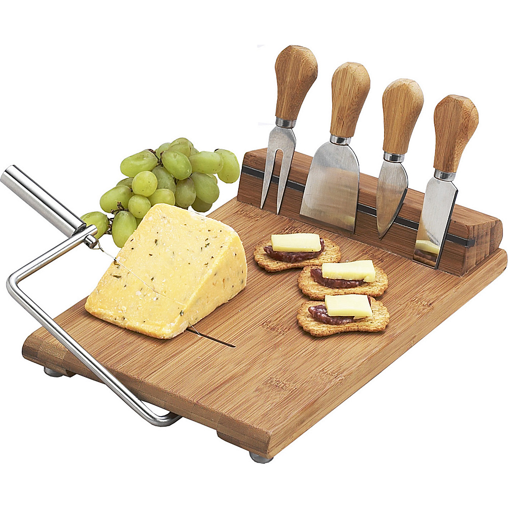 Picnic at Ascot Stilton Bamboo Cheese Board Set with 4 Tools Bamboo - Picnic at Ascot Outdoor Accessories - Outdoor, Outdoor Accessories
