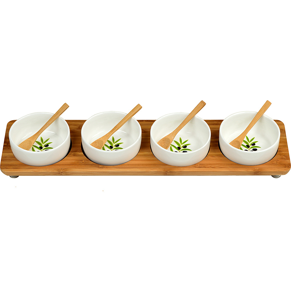 Picnic at Ascot Bamboo Entertaining Set with 4 Ceramic Bowls in Line Bamboo - Picnic at Ascot Outdoor Accessories - Outdoor, Outdoor Accessories
