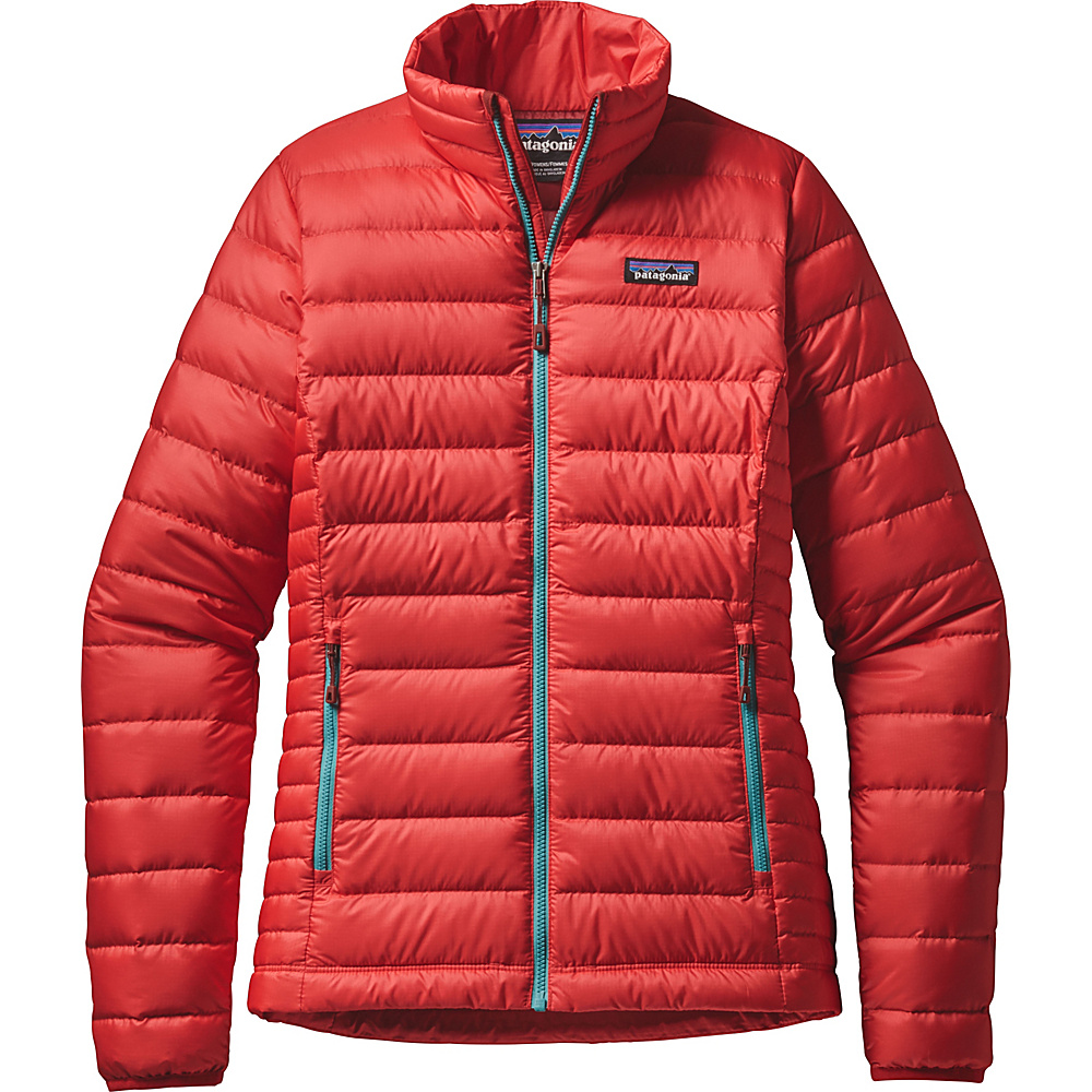 Patagonia Womens Down Jacket S - French Red with Mogul Blue - Patagonia Womens Apparel - Apparel & Footwear, Women's Apparel