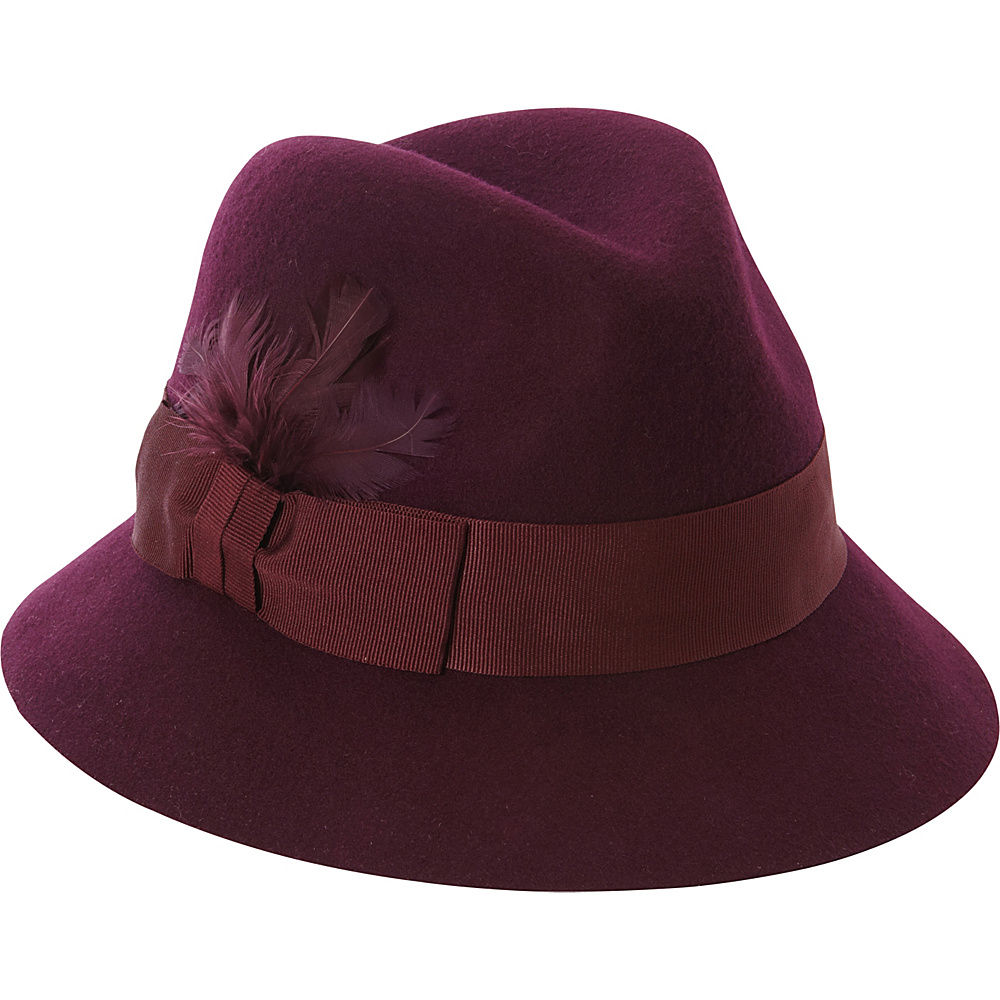 Betmar New York Raven Fedora One Size - Plum - Betmar New York Hats/Gloves/Scarves